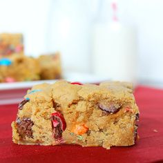 Irresistible M&M Peanut Butter Bars with only 5 ingredients! Get the easy dessert recipe on RachelCooks.com!