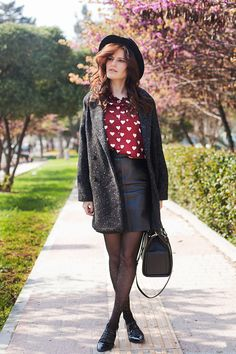 Polka Dot Tights Outfit by Tie Bow-Tie - TrendyLegs Fashion Clothes Online, Women's Fashion Dresses, Polka Dot Tights, Polka Dots, Sheer Tights, Sweaters And Leggings, Tights Outfit, Lookbook, Warm Outfits