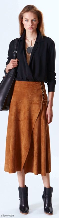 OUTFIT: | Black Deep V-Neck Sweater with Sleeves rolled up to a 3/4 sleeve + LONG Cognac Skirt + Black Ankle Boots + Black Over-Sized Shoulder Bag + Chic Straightened Hair with Voluminous Roots! ||| Ralph Lauren Resort 2016