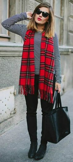Its hard to know what patterns to pair without a horrible catastrophic clash but the checked scarf and monochrome thin stripe top complement one another well. Two classic prints that both work well witht a red lip.