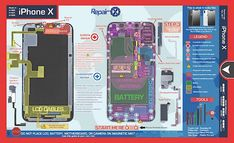 iPhone X Repair Schematic Save time, reduce repair mistakes, and train new technicians with the revolutionary new Repair Schematics. The industry first 1-page repair guide that lables screws, parts and tools you need for a specific repair. Its the only way to repair with confidence. Purchase the Patent Pending Magnetic Tray to use along with the Repair Schematic to hold your screws magnetically during a repair. Features: -Color coding that clearly identifies the common parts of a device…