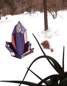Amethyst Stained Glass Sun Catcher  An Original Drawing by neile (Home & Living, Home Décor, Ornaments & Accents, suncatcher, amethyst, purple glass, crystal stained, colorful glass, february birthstone, crystal, the glass cabin, neile, boho chic, bohemian home, hippie home, home decor)