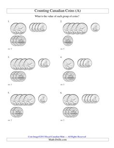 Counting Small Collections of Canadian Coins (No Dollar Coins) (A) and many other free math worksheets. Money Worksheets, Free Math Worksheets, Third Grade Math, Grade 2, Math Drills, Money Activities, Teaching Money, Counting Coins, Canadian Coins