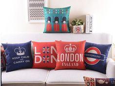 customize cushion London Crown pillowcase linen cotton pillows for sofa couch chair decoration 45x45cm #Affiliate