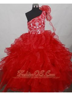 Popular Red One Shoulder Flower Girl Pageant Dress With Ruffled Layers and Embroidery Decorate- $156.47  www.fashionos.com   little girl pageant dress red   girls pageant dress in red   one shoulder neckline little girl pageant dress   glitz girl pageant gowns about dr miriam stoppard   red organza little girl pageant dress  