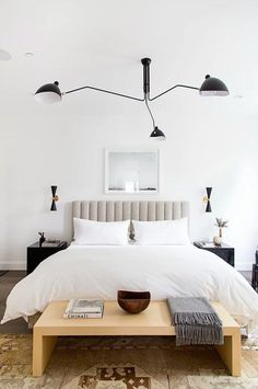 This composed contemporary bedroom by JDP Interiors is modern and eclectic. We created it for less! modern eclectic bedroom for less copycatchic luxe living for less budget home decor and design daily finds and room redos Bedroom Minimalist, Minimalist Home, Minimalist Apartment, Contemporary Bedroom, Modern Bedroom, Master Bedroom, Master Suite, Neutral Bedrooms, Bedroom Boys
