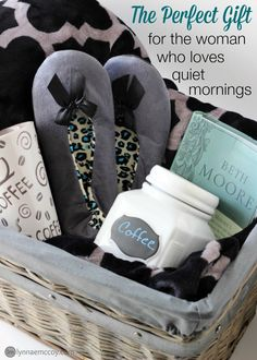 "I love giving gift baskets for Christmas! They're so easy to personalize. I'm currently in love with this gray wicker basket from Walmart. It makes the perfect container for this ""quiet time"" themed basket."