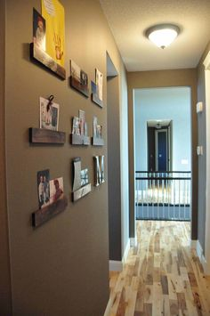 tongue and groove/ floor timber offcuts use as a Display wall for Photos, Cards, and Art