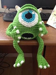 Mike Wazowski crochet pattern on Ravelry. We love Monsters, Inc. #DisneyCrochetPatterns