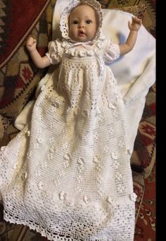 A PDF downloadable crochet pattern for baby christening gown, bonnet and booties. An elegant christening gown with the simple features. A yoked bodice and an Aline skirt made with crocheted in flowers. | eBay!