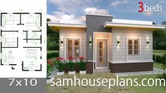 Simple House Design Plans with 3 Bedrooms Full Plans - House Plans Simple House Plans, My House Plans, Simple House Design, Layouts Casa, House Layouts, Flat Roof House, Three Bedroom House Plan, House Construction Plan, Architectural House Plans