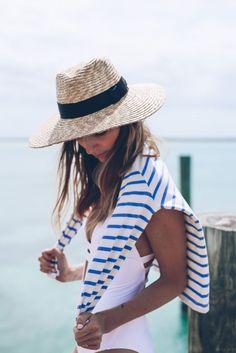 White bathing suit stripe tee shopbop sale