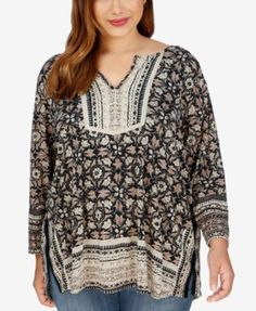 557b78013736f Lucky Brand Trendy Plus Size Floral-Print Peasant Top Plus Sizes - Tops -  Macy s