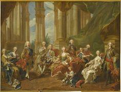 Le Roi Philippe V d'Espagne et sa famille. Esquisse MV4380 - Van Loo Louis-Michel (1707-1771) - Versailles, musée national des châteaux de Versailles et de Trianon. (C) RMN (Château de Versailles) / Gérard Blot.