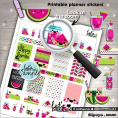 Watermelon Stickers, Printable Planner Stickers, Weekly Stickers, Summer Stickers, Erin Condren, Planner Accessories, Life Quotes, Fruits