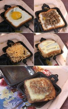 Pie Iron Breakfast Sandwich | 19 Easy Breakfasts For Your Next Camping Trip...Don't forget the Martin's Potato Bread!