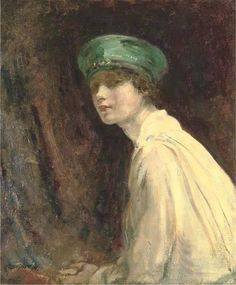 Ambrose McEvoy(1878ー1927) was an English artist)「The green hat, a portrait of Mrs Claude Johnson」(1918)