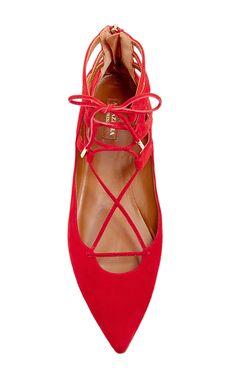 Red Suede Belgravia Tie Flats by Aquazzura