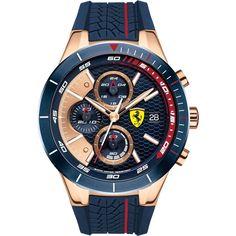 Scuderia Ferrari Men's Blue Rubber Rose Gold Chronograph Watch - 0830297
