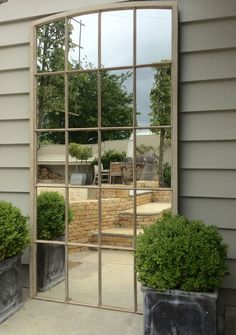 Architectural French 19thC Iron Window Mirrors