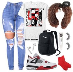 Baddie Outfits Casual, Swag Outfits For Girls, Teen Girl Outfits, Cute Swag Outfits, Dance Outfits, Trendy Outfits, Fashion Outfits, Sneakers Fashion, Freshman Outfits