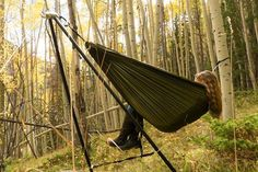 The YOBO hammock stand is pretty amazing in the sense that it is entirely collapsible, incredibly durable, and weighs at a stunning 2 pounds. For something that light, it can still withstand up to 300 pounds of weight (that's a hundred and fifty times its own) without collapsing, slipping, or giving away. The stand fits into rocky terrain as well as soil, and comes with anchor pins for a solid grip. Buy It Here: goo.gl/KC2p41