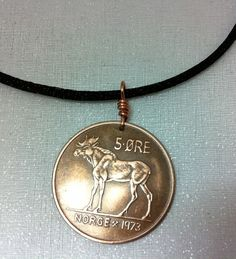 Coin Jewelry Vintage Norse MOOSE COIN NECKLACE - Viking, Norway, Elk