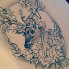 Something like this but with a cow - Chrissy Hills Tattoo Deer Head Tattoo, Head Tattoos, Life Tattoos, Body Art Tattoos, Sleeve Tattoos, Cool Tattoos, Buck Tattoo, Tatoos, Tattoo Sketches