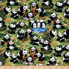 Peter Panda Pandas Multi from @fabricdotcom  Designed for Fabri-Quilt, this cotton print features a panda motif.  Perfect for quilting, apparel and home décor accents.  Colors include black, white, shades of grey, shades of green, shades of brown and shades of blue.