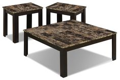 Table Set - Cappuccino Marble : Style your living space in classic elegance with this three-piece occasional table set from Monarch. It comes with one coffee table and two matching end tables, all with beautiful marble-look surfaces. End Table Sets, End Tables, Coffee Tables, Square Tables, Nesting Tables, Marble Top, Contemporary Furniture, Table Settings, Dining Table