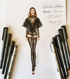 """NataliaZ.Liu (@nataliazorinliu)  """"The artwork inspired by an exquisite lace jumpsuit of Galia Lahav Haute Couture collection Spring…"""""""