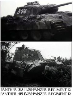 Two German 12th SS-Hitlerjugend Division Panthers in Normandy, France.