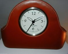 Saddle Stitched Mantel Desk Clock Faux Leather Battery Powered Michael Graves
