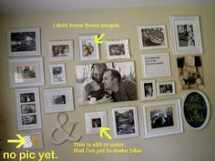 Great idea... eclectic photo frame wall in the family room