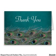Elegant Peacock Feathers Thank You Stationery Note Card
