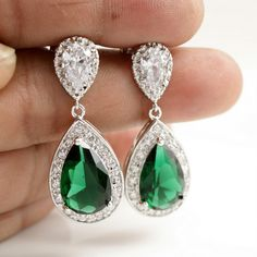 Wedding Jewelry Bridal Earrings Silver Clear Cubic Zirconia Posts Large Emerald Green Cubic Zirconia Teardrop Earrings Wedding Earrings $50.00