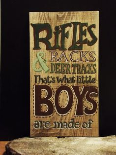 Rugged looking camo-colored wooden sportsmen's sign for Little Boys -handpainted on aged New England wood on Etsy, $32.00