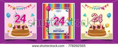 Vector Sets of 24 Years Birthday invitation, greeting card Design, with confetti and balloons, birthday cake, Colorful Vector template Elements for your Birthday Celebration Party.