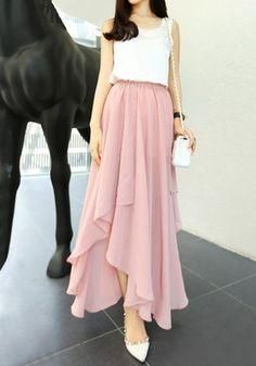 Asymmetric Hem Maxi Skirt - Pink
