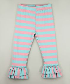 Look what I found on #zulily! Light Pink & Teal Stripe Ruffle Pants - Infant, Toddler & Girls #zulilyfinds