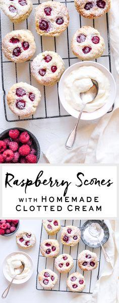 Raspberry Scones with Homemade Clotted Cream   eatlittlebird.com