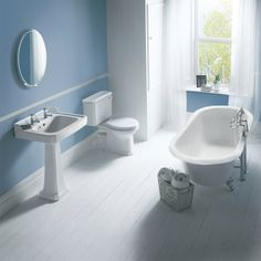 Our Carlton bathroom suite evokes a simplistic approach to traditional bathrooms to offer a clean yet elegant environment. http://www.victorianplumbing.co.uk/Carlton-Traditional-1700mm-Double-Ended-Freestanding-Bath-Suite.aspx