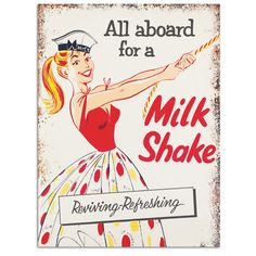 All Aboard For A Milkshake Metal Sign | Ice Cream Parlor Decor | RetroPlanet.com