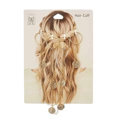 Accessoire pour cheveux chaînes et pièces dorées