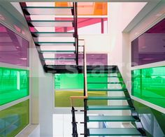 Straight staircase with glass treads.