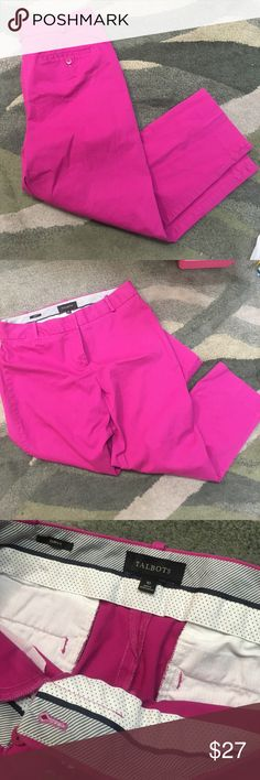 "Magenta Talbots Pencil Pants, Sz 10 Curvy Talbots Cropped curvy pencil pants in Magenta, Sz 10 Curvy fit. Approximately 24.75"" inseam will be ankle skimming or Capri length on taller ladies. Gorgeous color and very soft material. Perfect for standing out in a crowd. This would pair great with a lily Pulitzer print shirt. Talbots Pants Ankle & Cropped"