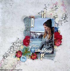 Ann Kristins fristed: Winter Wonderland layout Kulricke txt, Papirdesign, Winter Wonderland, Ann, Layout, Scrapbook, Frame, Home Decor, Page Layout, Room Decor, Frames