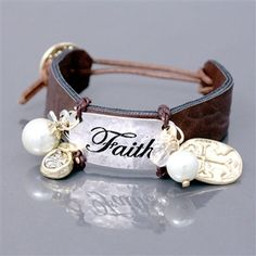 "Silvertone Engraved ""Faith"" Cross Charm Brown Leather Cuff Bracelet"