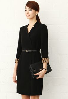 Black dress for office, work look. Great style