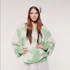Wildfox Couture Cloudy Sky V Neck Sweater S Dreamy cloud print with ribbed edges. Pair with knee high socks and a pleated mini and you're all set for class! Wildfox Sweaters V-Necks